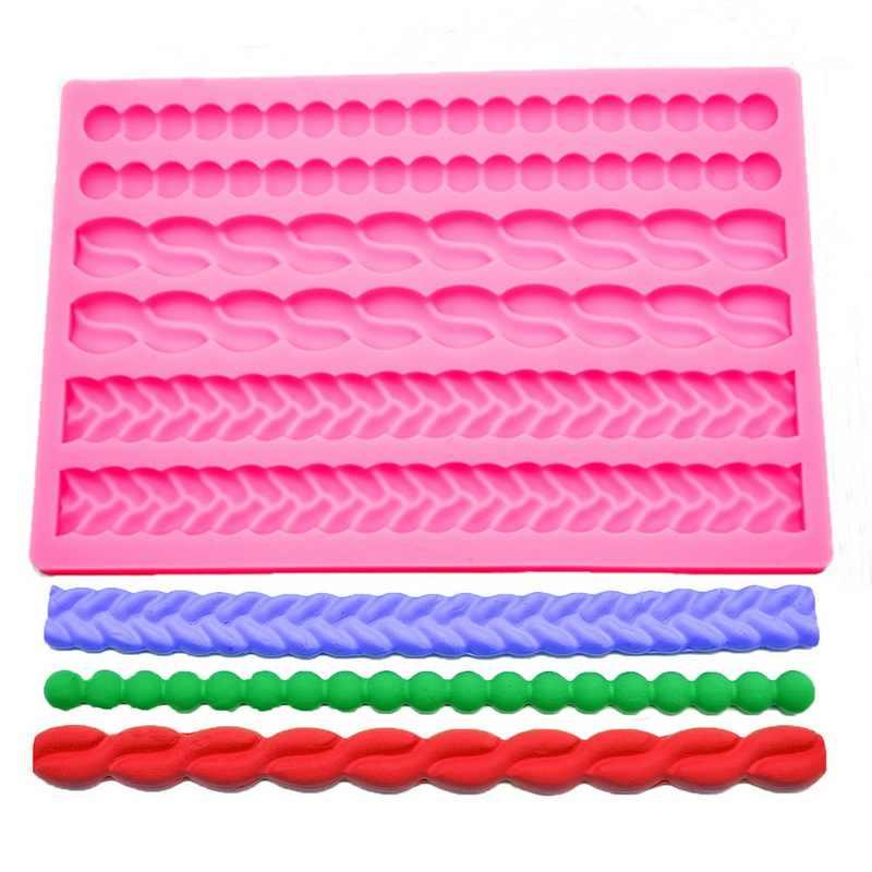 3D Pearl Knit Rope silikonowe formy kremówki ciasto granicy foremki dekoracyjne Gumpaste kuchnia DIY do dekorowania pieczenia akcesoria do ciast