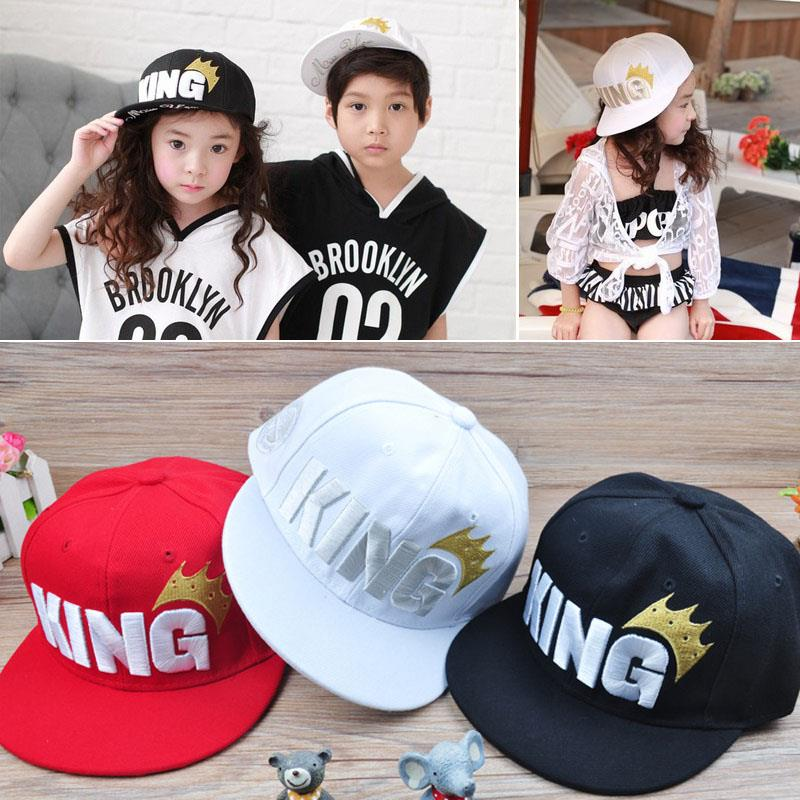 Children Boys Baby King Letter Crown Sport Baseball Cap Snapback Brimmed