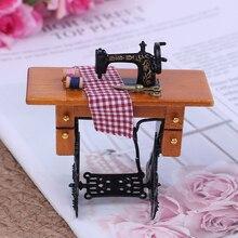 Миниатюрная швейная машина с ткань аксессуар для 1/12 Масштаб Кукольный дом украшения