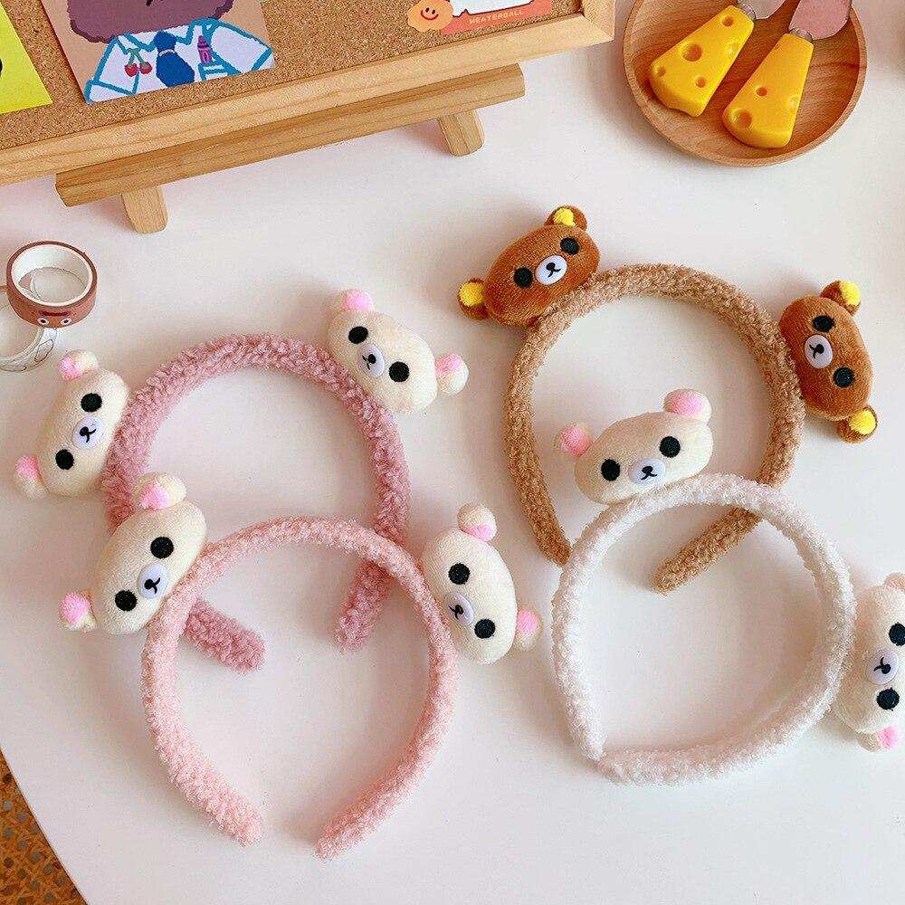 JHD Women Girls Cute Cartoon Bear Ears Headband Winter Thicken Fuzzy Plush Candy Color Hair Hoop Makeup Wash Face Headpiece Photo Props