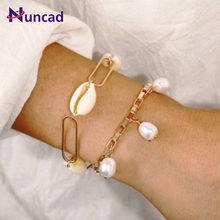 2pcs Women Artificial Pearl Bracelets Gold Silver Link Chain Natural Shell Bracelets Sets Bohemian Girlfriend Gift Beach Jewelry(China)