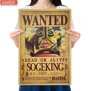 AIMEER Anime One Piece Sniper King Cartoon Character Usopp Reward Order Series Kraft Paper Poster Decor Painting 52*36cm image