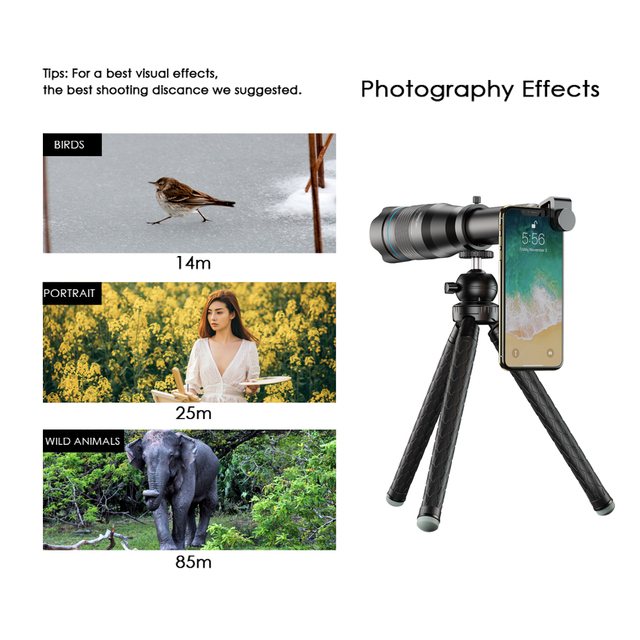 APEXEL Optional HD 60X metal telescope telephoto lens monocular mobile lens+ extendable tripod for iPhone Huawei all Smartphones 4
