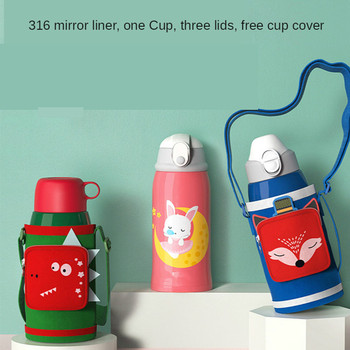 New Cartoon Childrens Vacuum Flask with Straw  Kindergarten Drop-proof Large-capacity Water Bottle