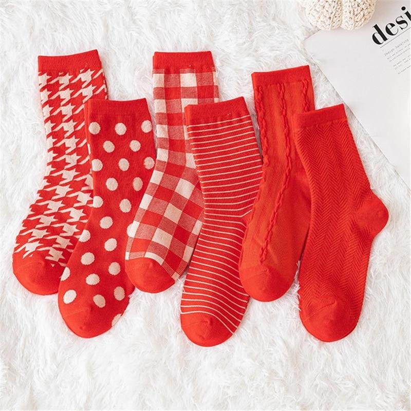 Новинка 2020, женские носки, носки в клетку и в полоску, удобные носки в стиле Харадзюку красного цвета, длинные носки в стиле ретро, женское ка...