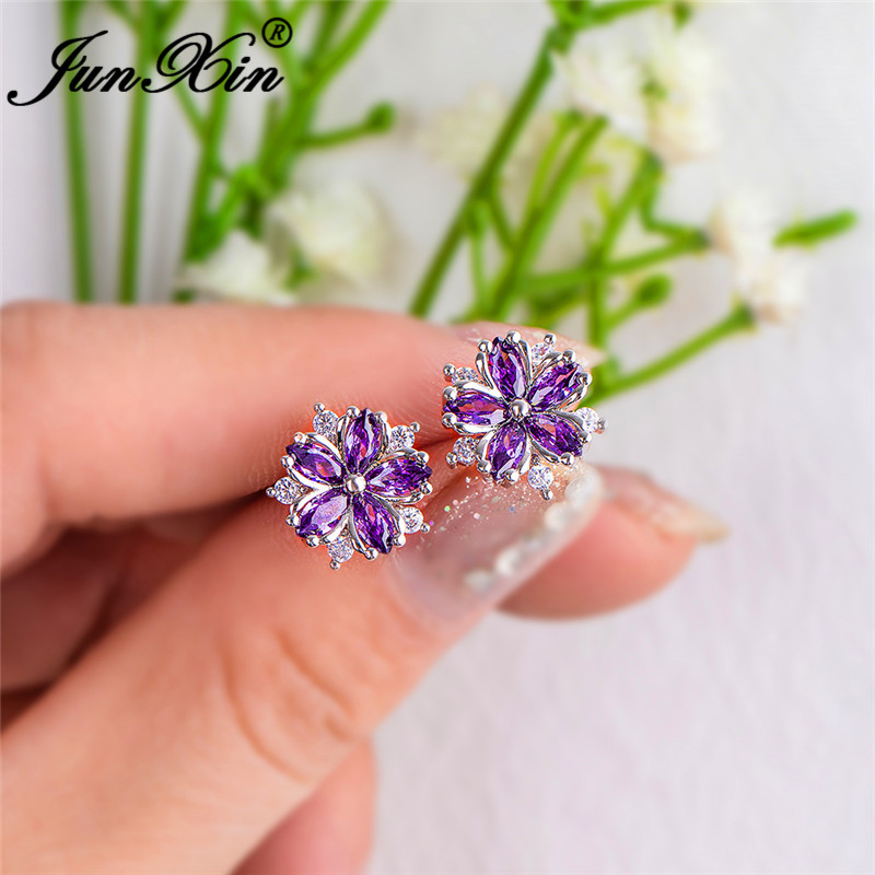 Charm Purple Snowflake Stud Earrings For Women Silver Color Rainbow Crystal Flower Wedding Ear Studs Zircon Piercing Jewelry