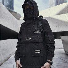 Jaqueta techwear homem primavera streetwear preto com capuz impermeável blusão