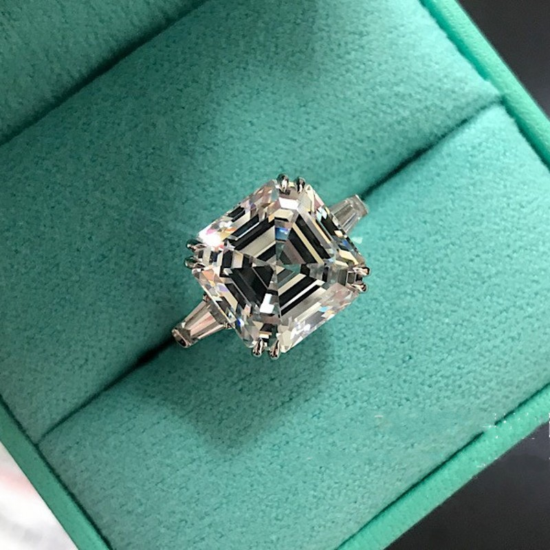 Statement Promise Ring 925 Sterling Silver Asscher Cut  12mm AAAAA Cz Engagement Wedding Band Rings For Women Bridal Jewelry