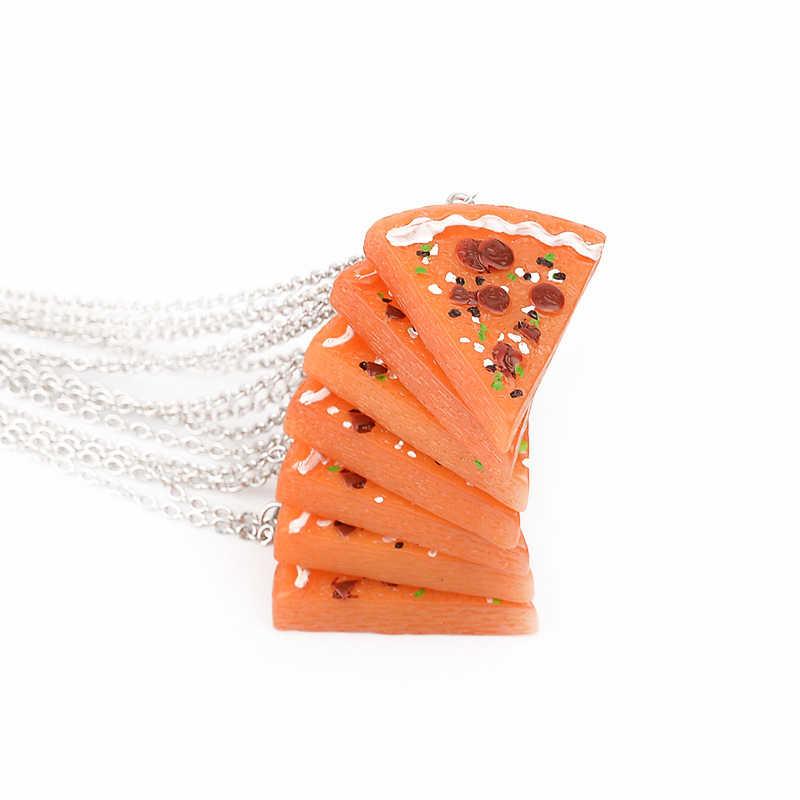 7 Uds. Creativo Pizza colgante collar mujer Bff joyería Simple cadena de plata collar gargantilla personalizada mejor amigo regalos