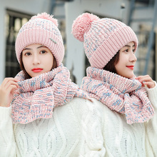 Winter hat and scarf Set Women Classic plus Thick Unisex Kitted Hats Scarves Warm winter accessories