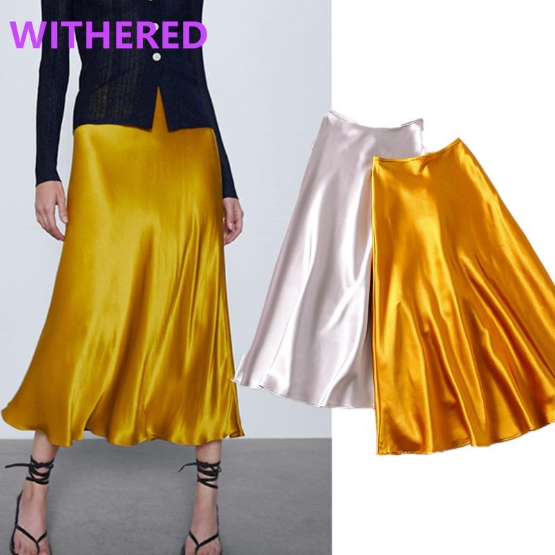 Withered England High Street Vintage Satin Shine Simple High Waist A-line Skirt Women Faldas Mujer Moda 2020 Long Skirts Womens