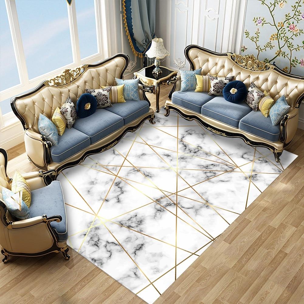 Light Luxury Home Decor Carpet Geometric Marble Printing Modern Bedroom Living Room Rectangle Floor Mats Weclome Doormats Carpet Aliexpress
