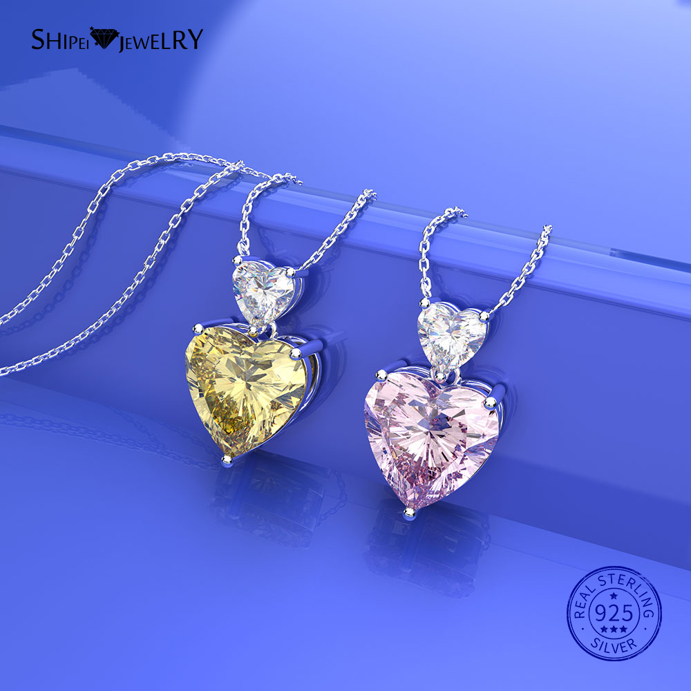 Shipei 925 Sterling Silver Heart Necklace Fine Jewelry 100% Citrine Pink Sapphire Heart Pendant Necklace for Women Birthday Gift