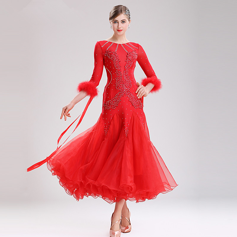 Modern Dance Clothes Women High-grade National Standard Ballroom Dance Performance Costumes Social Dance Feather Uniforms MQ290