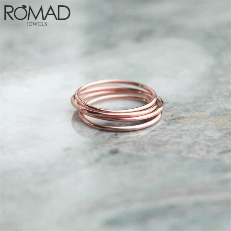 Romad Eenvoudige Ronde Ringen Voor Vrouwen Dunne Bruiloft Ring Eenvoud Fashion Sieraden Echt 925 Sterling Zilveren Ring Stapelbaar Sieraden