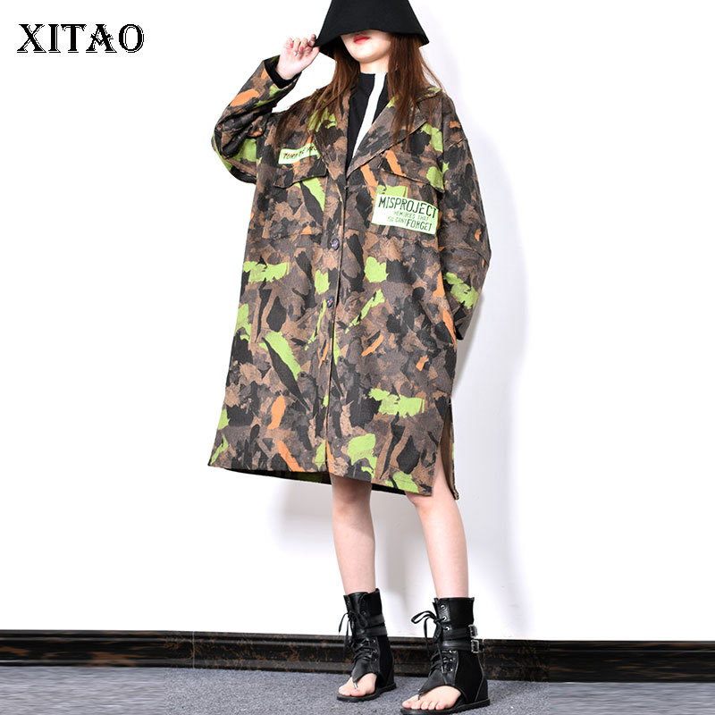 XITAO Letter Patchwork Camouflage Casual Trench Women 2019 Winter Tide Fashion New Wide Waisted Turn Down Collar Coat GCC2385