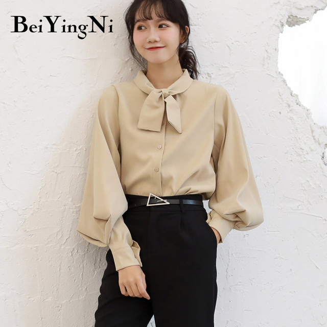 Beiyingni Fashion Casual Bow Tie Blouses Womens Tops Oversized Vintage Solid Color Shirts Female Autumn Winter Long Sleeve Blusa 3