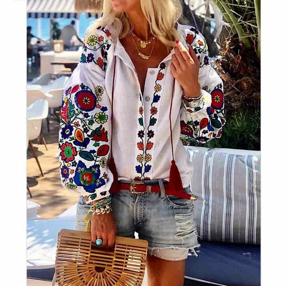 Women Casual Flower Cotton Linen Button Long Lantern Sleeve Shirt Blouse Tunic Tops Holiday Beach Wear National Feature Blouses