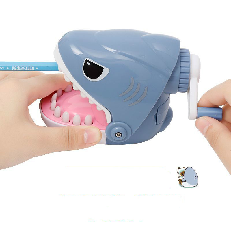 Multifunctional Cute School Child Hand Pencil Sharpener Cartoon Funny Bulldog Shark Crocodile Mouth Dentist Bite Finger Game