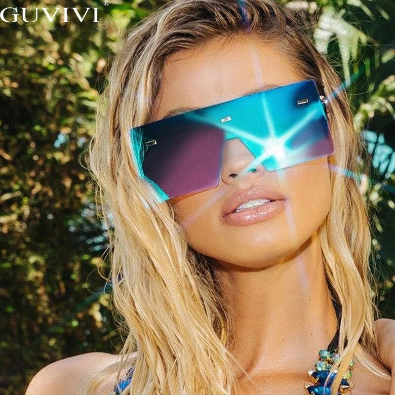 Çerçevesiz boy güneş gözlüğü kadın 2020 degrade kare güneş gözlüğü marka tasarımcısı erkekler Retro küçük sarı gözlük Sunnies UV400
