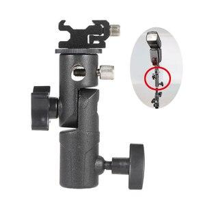 """Image 1 - E Typ Metall Halterung Universal Heißer Schuh Speedlite Regenschirm Halter Mit 1/4 """"bis 3/8"""" Schraube Montieren Swivel adapter Licht Stehen"""
