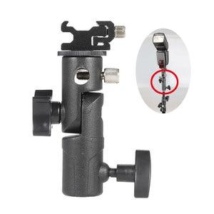 """Image 1 - Soporte de Flash de Metal tipo E soporte Universal para zapata Speedlite para paraguas con soporte de luz de adaptador giratorio de montaje en tornillo de 1/4 """"a 3/8"""""""