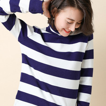 2019 new fashion autumn winter loose sweater pullovers striped turtleneck bottoming shirt women long sleeve high collar