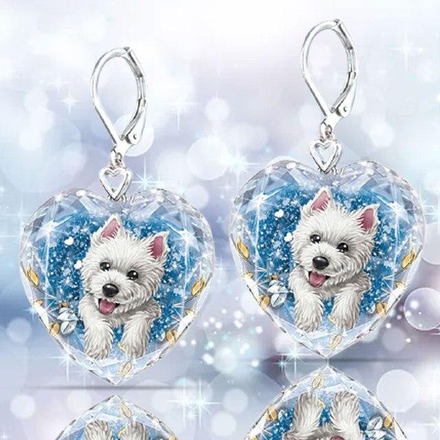 Dog Heart Crystal  Earrings 2