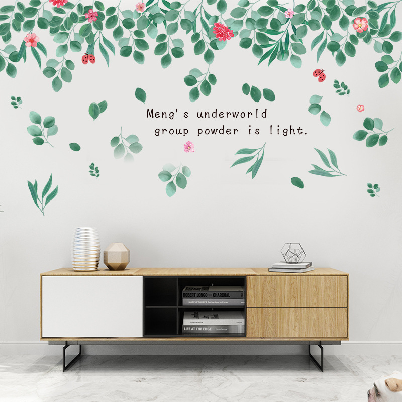 Большая краска стиль зеленые листья цветы наклейки на стену ПВХ для гостиной детской комнаты украшение дома Наклейка на стену домашний декор фрески Наклейки на стену      АлиЭкспресс