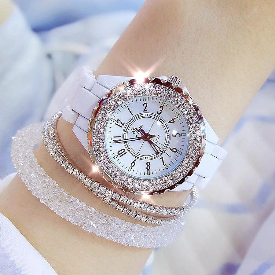 2019 BS bee sister Women Watch Luxury Wristwatch White Ceramic Fashion Ladies Quartz Watch Reloj Mujer Feminino Relogio Saati