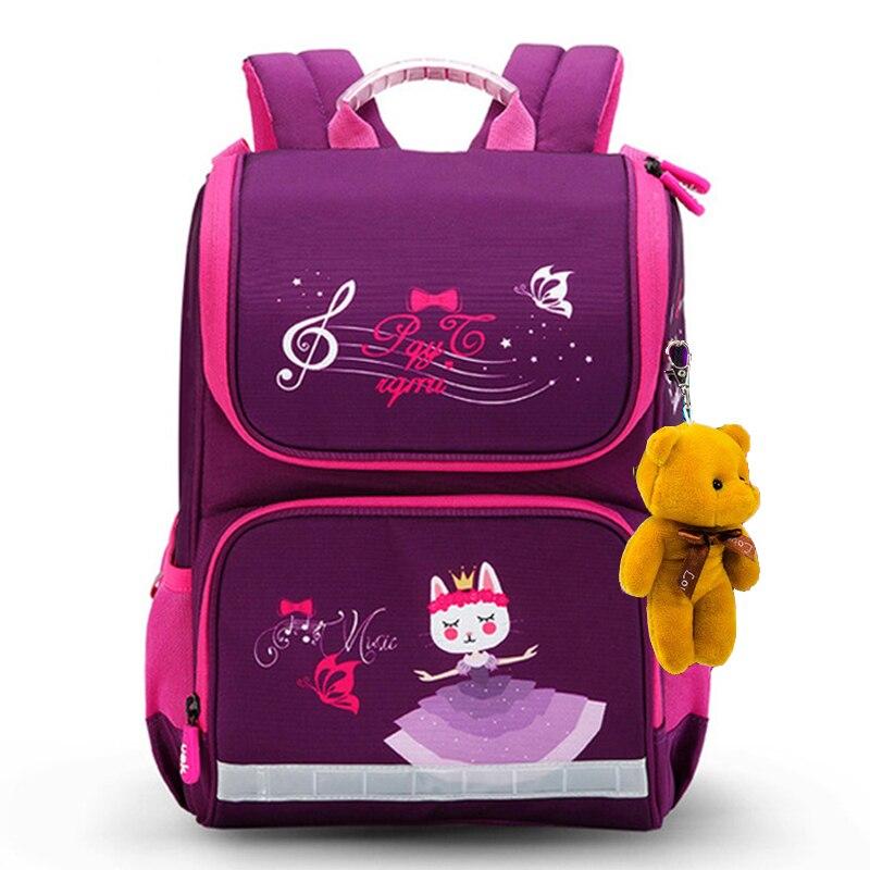 New Fashion Cartoon School Bags Backpack for Girls Boys Bear Cat Design Children Orthopedic Backpack Mochila Infantil Grade 1-5 2