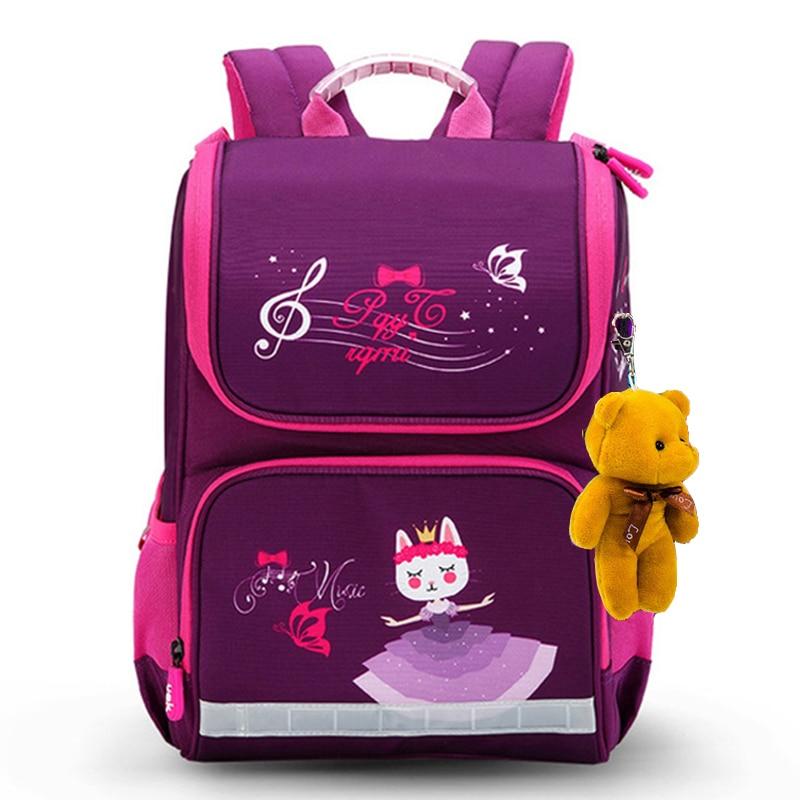 Новый модный мультяшный школьный рюкзак для девочек и мальчиков, дизайн с медвежонком и кошкой, детский ортопедический рюкзак, рюкзак для детей 1 5 класса|Школьные ранцы| | АлиЭкспресс