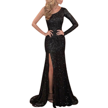 цена Elegant Evening Dress Women One Shoulder Long Dress Fashion Bling Vestidos Women Slim Fit Party Dresses Autumn ropa mujer D30