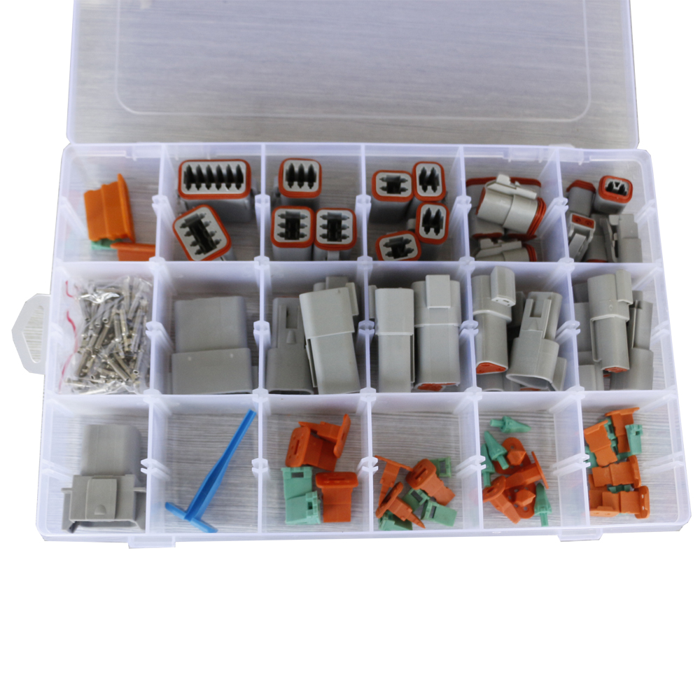 18 Sets DT Series Waterproof Connector With Needle Remover Sealed 14-20AWG Automotive Electrical Connectors Deutsch Connector