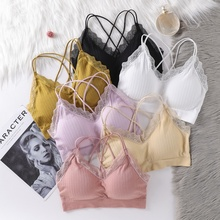 Sexy Beauty Back Strap Stereotypes Gathered Bra Underwear Solid Color Wire Free Seamless Lace Bras for Women stylish solid color spaghetti strap wire free sports bra for women page 9