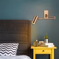 American Loft Wall Lamp ASCELINA Long Swing Arm Wall Lamps Adjustable Metal Led Wall Light home lighting for Bedroom/Restaurant