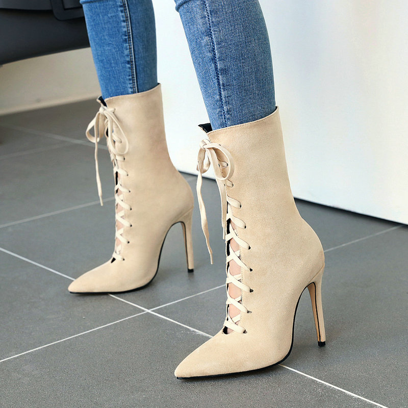 Women Mid Calf Boots Buckle Strap High Stilettos Heels Pointy Toe Shoes Cosplay