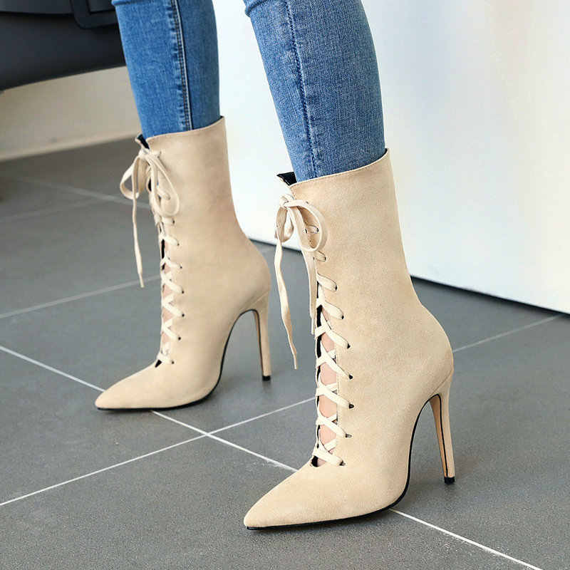 Women/'s Patent Leather High Chunky Heels Mid-calf Boots Lace Up Pointed Toe Shoe