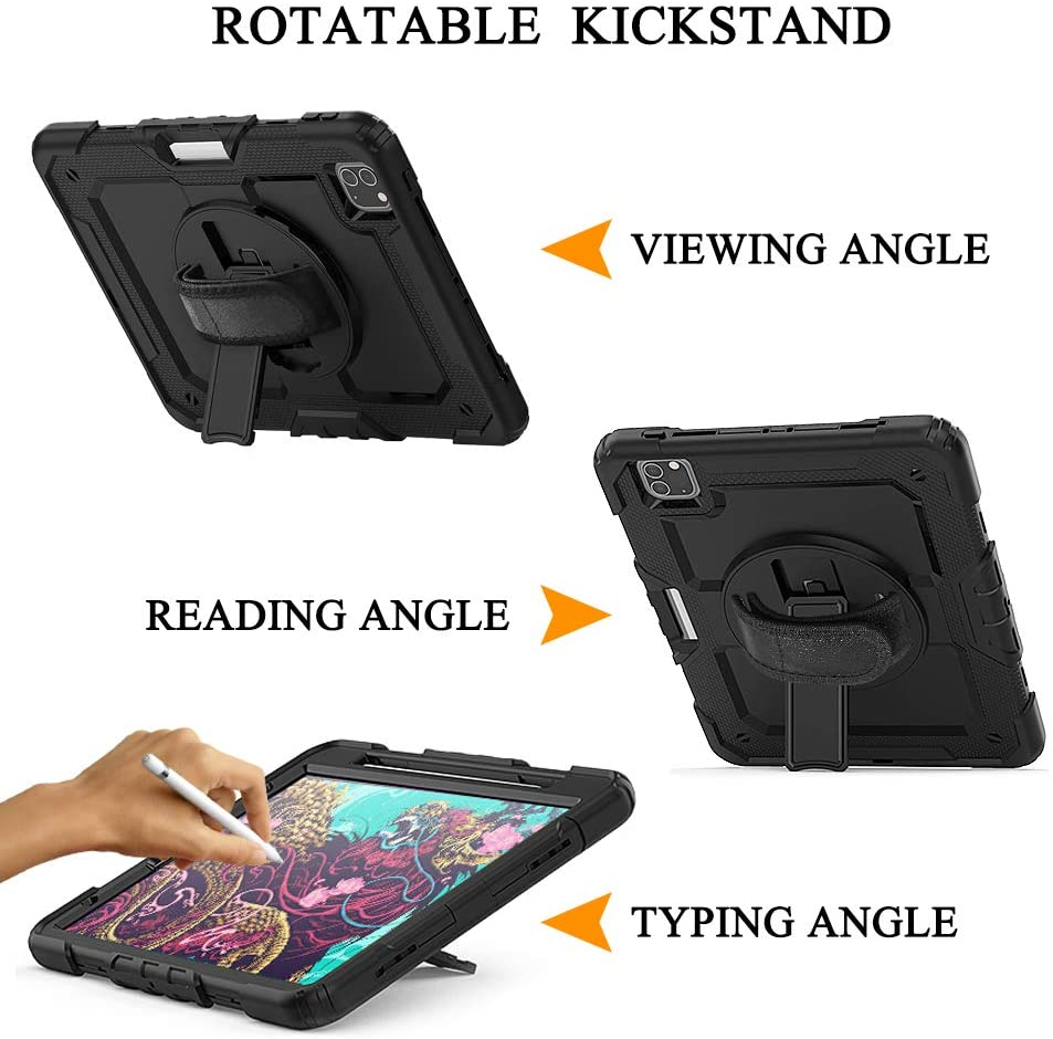 Heavy Air For Screen Protective 4th iPad Duty Silicone Film with Kickstand Generation Case