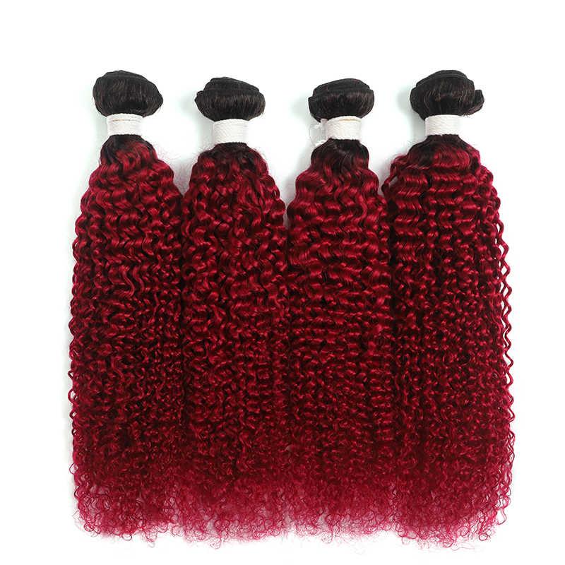 1B/Borgoña brasileño rizado mechones 8-26 pulgadas dos tonos Ombre extensiones de cabello humano 3/4 Uds mechones no Remy cabello tejido