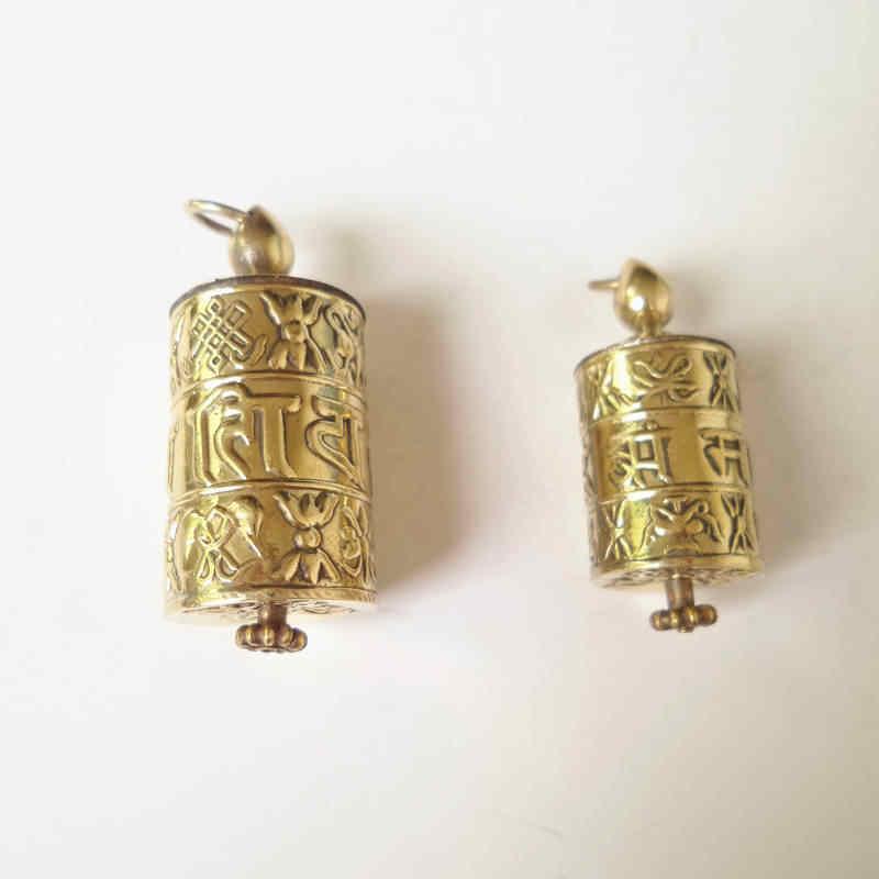 TGB055 Tibetano Golden Bibbia Ruota Scatola di Preghiera Del Pendente Tibet Mani Sei Parole Mantra Babao Amuleto medaglioni
