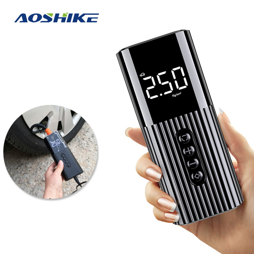 AOSHIKE Air Compressor 12V Portable Electric Air Pump 70 PSI Mini Car Tire Inflator For Motorcycle Bicycle Digital Tyre Pump