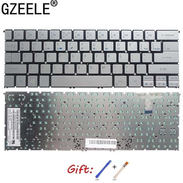 GZEELE 새로운 미국 영어 노트북 키보드 에이서 갈망 S7 391 S7 392 MS2364 백라이트없이 실버 키보드