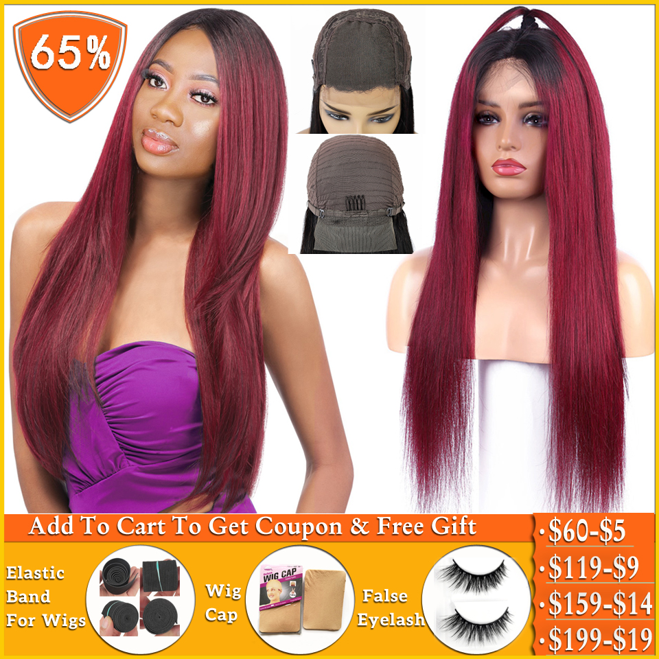 Brazilian Wig Straight 4x4 Lace Closure Wig T1b/99j Burgundy Ombre Honey Blonde Human Hair Wigs For Women Non-remy 150% Density