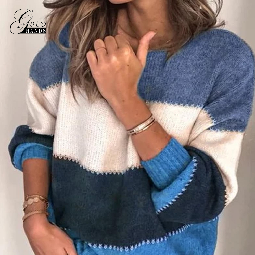 Gold Hands Women Fashion Patchwork Long Sleeve Warm Knitted Sweaters Pullover Female Tops Jumper O-neck Autumn Winter Sweater