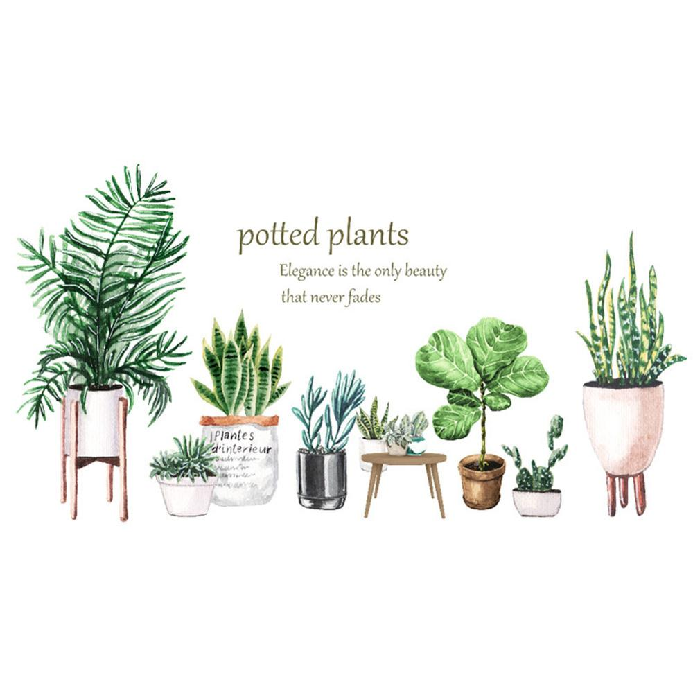 Potted Leaf Cactus Plant Wall Sticker Baseboard Wallpaper Kitchen Living Room Decoration Home Cupboard Mural Removable Stickers