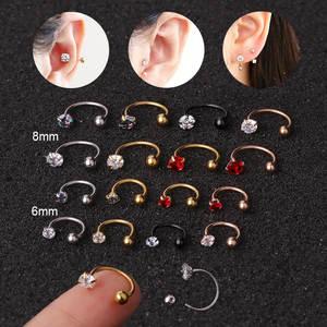 1pc 6/8mm Stainless Steel Zircon Cz Hoop Tragus Cartilage Helix Stud Earring Conch Rook Daith Lobe Ear Screw Piercing Jewelry