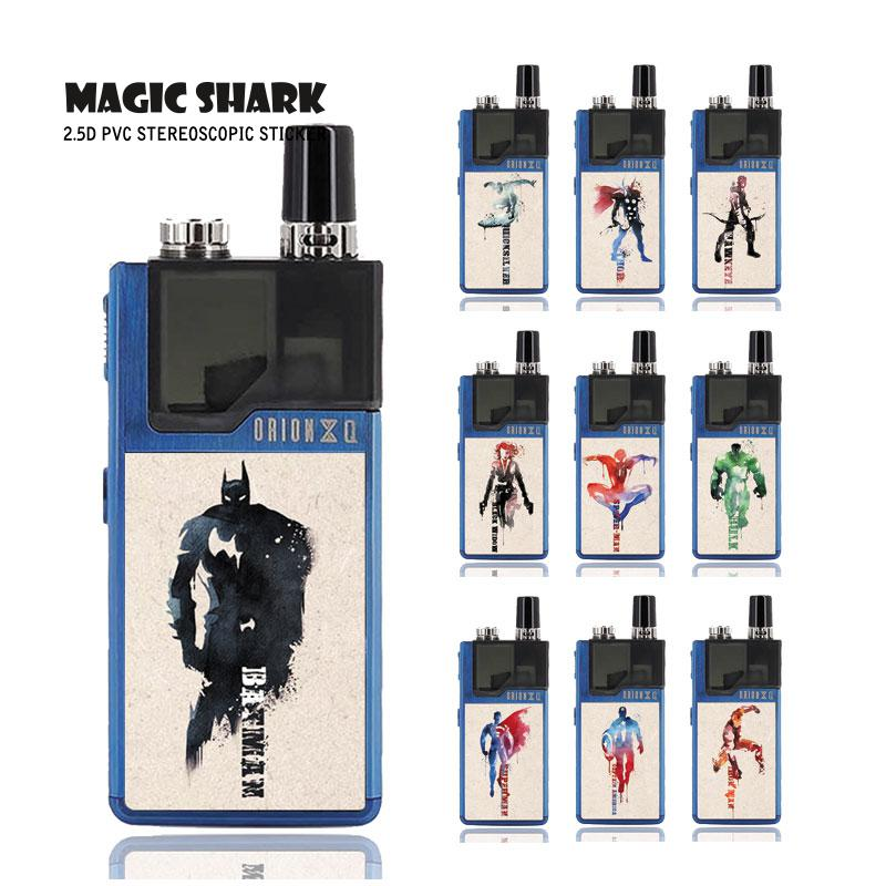 Magic Shark Captain American Marvel DC Batman Superman Spider Man Iron Man Case Sticker Film Skin for Lost Vape Orion 061-070