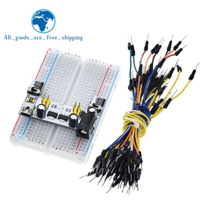 3.3V/5V MB102 Breadboard power module+ 400 points Solderless Prototype Bread board kit +65 Flexible jumper wires(China)