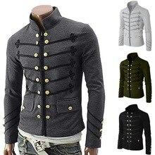 SHUJIN Vintage sólido hombres chaqueta gótica Steampunk túnica Rock Frock uniforme masculino Vintage traje estilo Punk Metal militar abrigo prendas de vestir